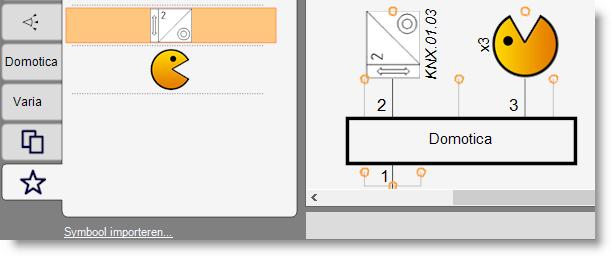 Eigen symbolen op het eendraadschema