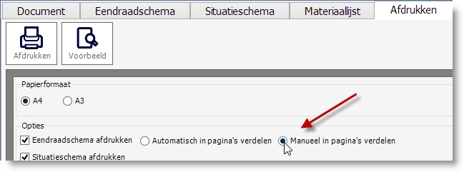Eendraadschema niet automatisch over pagina's verdelen