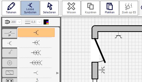 Losse Symbolen op het eendraadschema