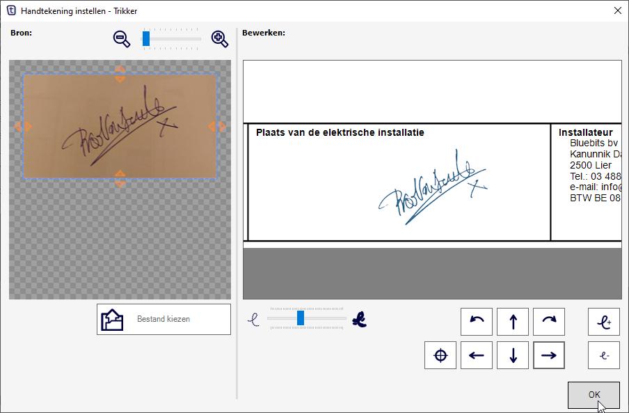 Trikker - Handtekening toevoegen op eendraadschema en situatieschema