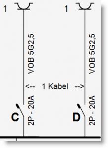Eendraadschema - 2 kringen dor 1 kabel