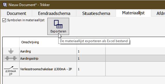 Materiaallijst exporteren in Trikker