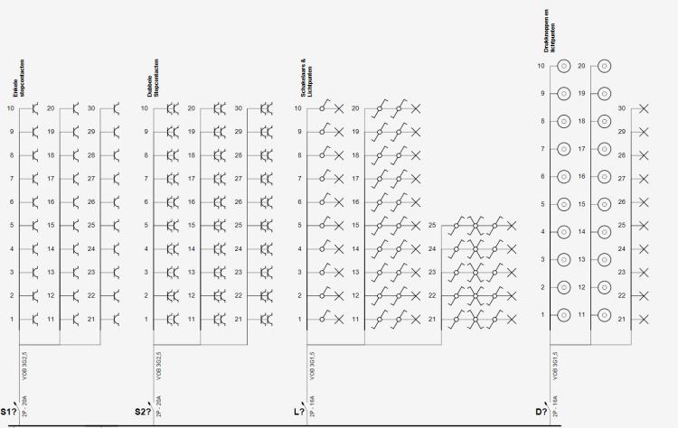 Eendraadschema met tijdelijke kringen