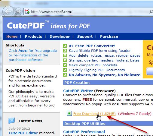 Screenshot van CutePDF website
