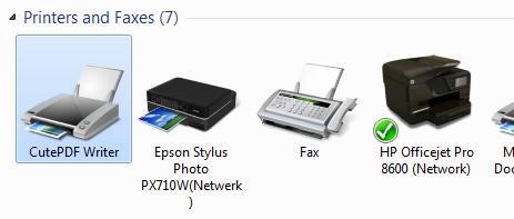 Screenshot Windows printers, met CutePDF