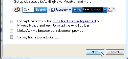 Screenshot van het CutePDF installatieprogramma - Hoe de 'Ask' tools uitvinken