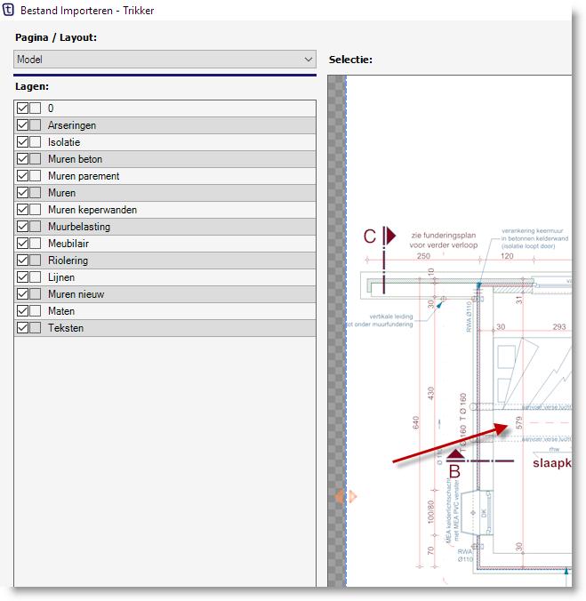 AutoCAD bestand importeren -op situatieschema - Referentiemaat