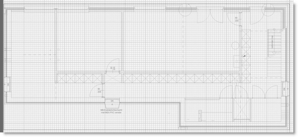 Een AutoCAD tekening gïmporteerd op het situatieschema