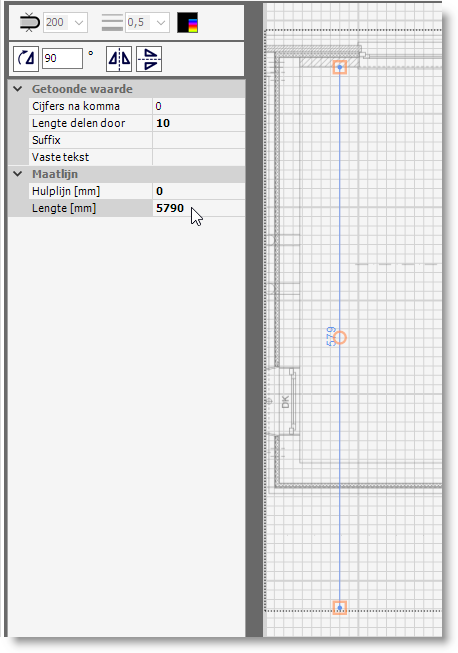 Een matlijn op het situatieschema