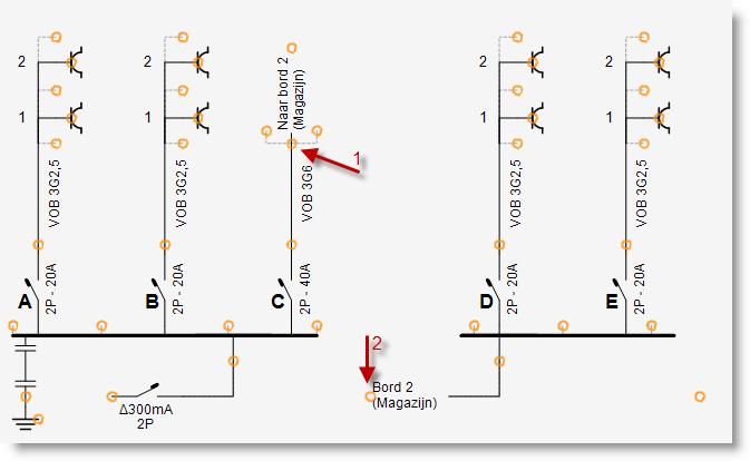 Eendraadschema met 2 borden - Trikker